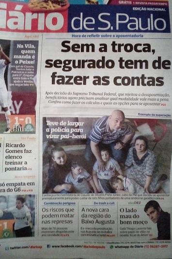 Capa do Diário de São Paulo, no domingo, com chamada para a história do Cabo PM Preto