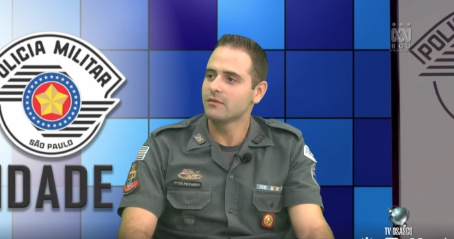 O Tenente PM Farina também participou da entrevista e foi um dos organizadores da Corrida de Rua